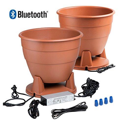 OSD Audio Bluetooth Planter Speakers - Outdoor Water Drainage Pair, Terra Cotta - BPS520