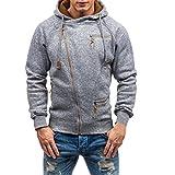 iLXHD Men's Autumn Long Sleeve Zipper Hooded Sweatshirt Outwear Tops Pullover(Gray,M)