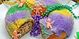 NOLA 1.5 LB TRADITIONAL KING CAKE PARTY PACK Gift Set 6 BEADS, 6 DABLOONS, 6 Mardi Gras Stickers ,1 KING CAKE ORNAMENT New Orleans