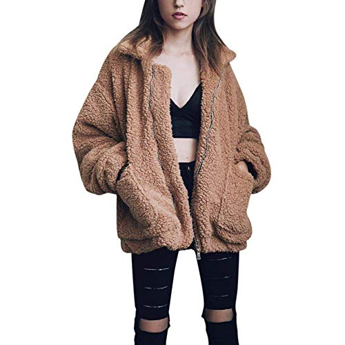 Women\'s Coat Casual Lapel Fleece Fuzzy Faux Shearling Zipper Coats Warm Winter Oversized Outwear Jackets (Khaki,M)