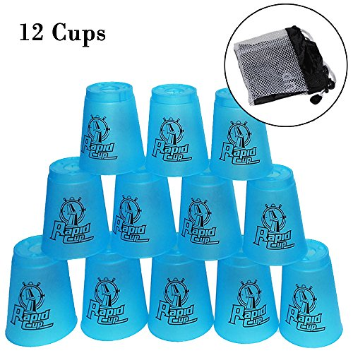 Amhii Quick Stack Cups Set of 12 - Sports Stacking Cups Speed Training (Blue)