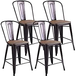 White Bear & Brown Rabbit Set of 4 Copper Metal Wood Counter Stool Kitchen Dining Bar Chairs Rustic