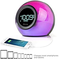 iHome iBT29BC Bluetooth Color Changing Dual Alarm Clock FM Radio with USB Charging and Speakerphone (Certified Refurbished)