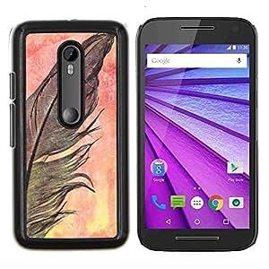LECELL--Funda protectora / Cubierta / Piel For Motorola MOTO G3 3rd Gen -- Cuervo Negro naturaleza de la acuarela --