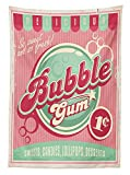 1950s Decor Tablecloth Bubble Gum Chewing Gum Delicious Candy Lollipop Sweet Sugar Advertise Poster Style Artwork Dining Room Kitchen Rectangular Table Cover
