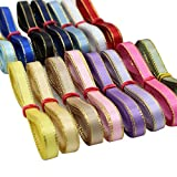 XUKE 1/4-Inch by 2M Gold Edge Thin Grosgrain Ribbons Sent of 15 Colors