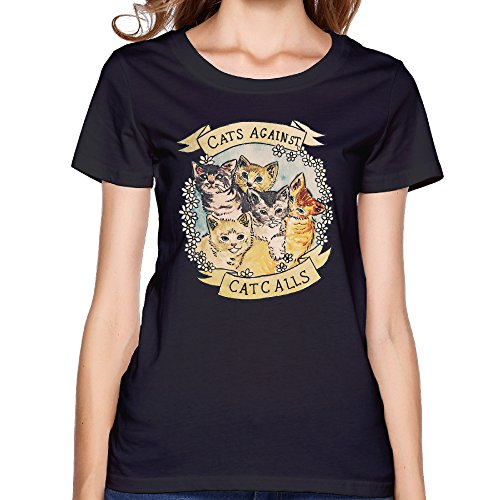 [Once Fashion Designs Women's O-neck Cats Against Cat Calls Black] (Supergirl Costumes Plus Size)