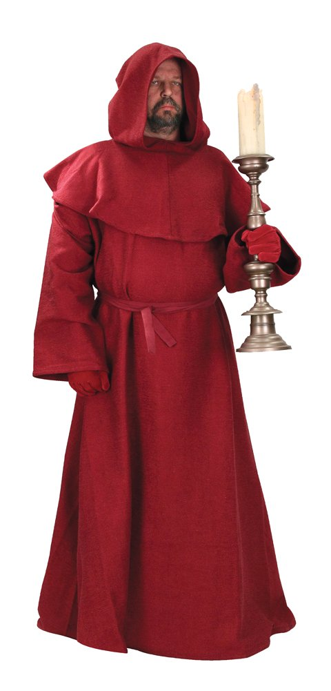 Red/Burgundy Monk's Robe w Hood, Wizard, Sorcerer Mage or Priest Costume