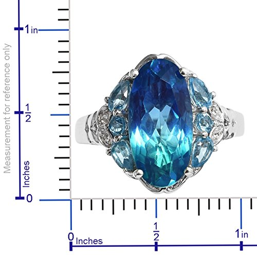 925 Sterling Silver Platinum Plated Oval Ocean Quartz, Blue Topaz Fashion Ring for Women Size 7 Cttw 7.8 by Shop LC (Image #5)