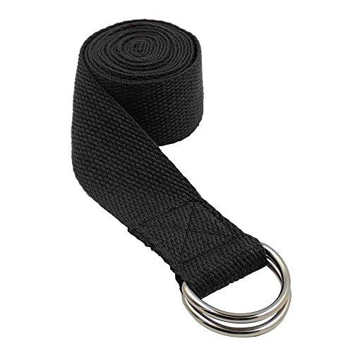 Daorier 1× Yoga-Pilates Strap-Bande Yoga avec Boucles-Sangle Yoga-Yoga Strap-Métal D-Ring Ceinture Fitness Pilates étirement Outil d'exercice à Domicile Noir