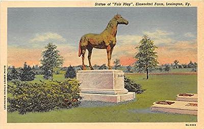 Statue of Fair Play, Elemendorf Farm Lexington, Kentucky, KY, USA Old Vintage Horse Racing Postcard Post Card