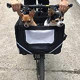 Lovinland Pet Bike Basket Bag Dog Cat Travel Carrier Front Bicycle Carrier Black for Little Pet