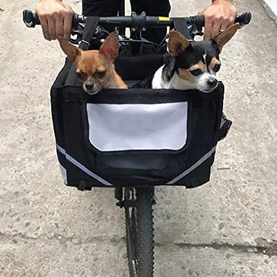 Cat Basket Lovinland Pet Bike Basket Bag Dog Cat Travel Carrier Front Bicycle Carrier Black for Little Pet [tag]