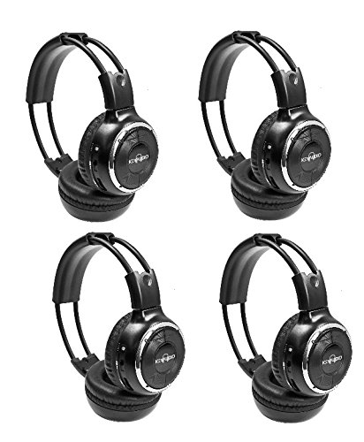 Key Audio 4-MZ-B8002RI-BLK4 Pack of  IR Wireless Two-Channel Foldable Headphone, Two Channel Folding Adjustable Universal Rear Entertainment System Infrared Headphones for in Car TV Video Audio (Infrared Audio)