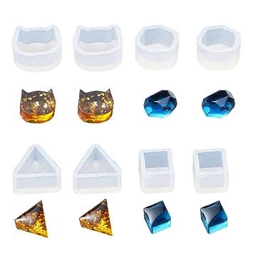 Daimay 16PCS Molde de resina de silicona Moldes de fundición de joyas Claro minúsculo Ear Stud Earring Mould para Fabricación de artesanía de joyería de ...