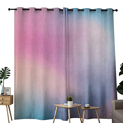 NUOMANAN Blackout Lined Curtains Pastel,Abstract Blurry Colors Composition Sweet Daydream Fantasy Miscellaneous, Pink Aqua Peach White,Thermal Insulated,Grommet Curtain Panel Set of 2 52