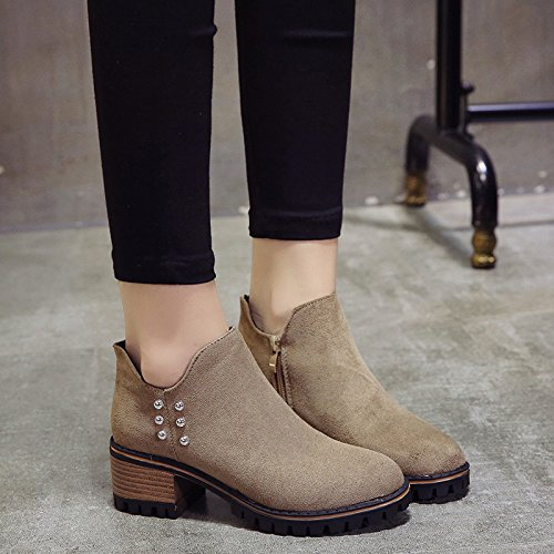 AGECC Damen Damen Winter Winterstiefel Korean Tide Plus Wildleder Kurze Stiefel mit Absatz Dicke warme Baumwollstiefel All-Match-Rutschfeste Schuhe Viel Glück für Sie
