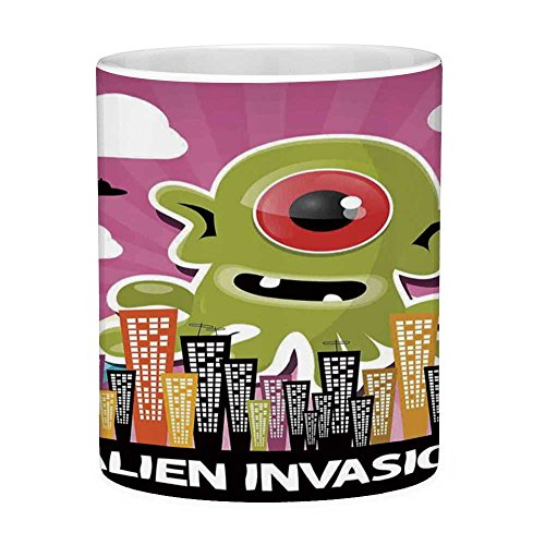 Lead Free Ceramic Coffee Mug Tea Cup White Outer Space Decor 11 Ounces Funny Coffee Mug Funny Giant Big One Eyed Monster City Urban Danger Attack Invasion Clip Design Multi