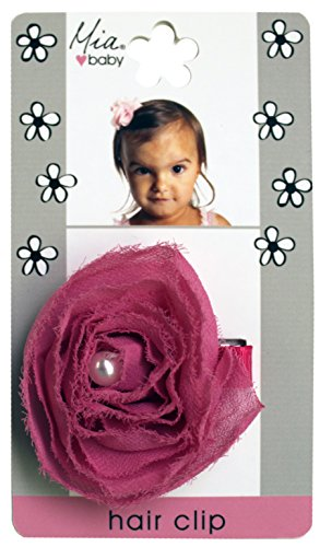 MIA Clips - Baby Hair Clips, Rosette With Pearl Center, Assorted Colors, 5x3x0.5