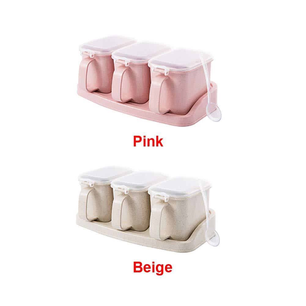 juego de tarros de cocina para condimentos Caja de condimentos pajita de trigo contenedor de herramientas para el hogar Tama/ño libre Beige 3 Grid salero y crucero