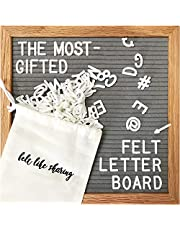 Felt Letter Board 10x10 Inches. Changeable Letter Boards Include 300 Plastic Letters & Oak Frame.…