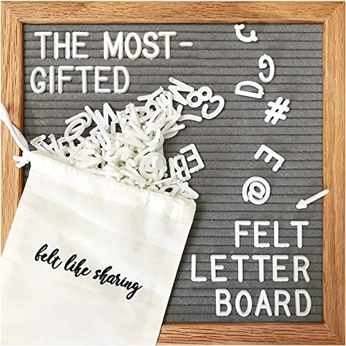 Deluxe Birthday Care Package - Gray Felt Letter Board 10x10 Inches. Changeable Letter Boards Include 300 White Plastic Letters and Oak Frame.