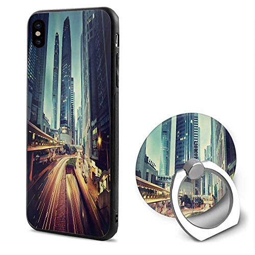 Urban iPhone x Cases,Traffic in Hong Kong Picture Sunset China Modern Life High Rise Buildings Seafoam Yellow Orange,Design Mobile Phone Shell Ring Bracket