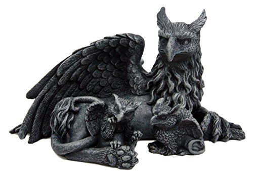 Atlantic Collectibles Griffin Gargoyle Figurine Griffon Family Mother & Baby Hatchlings Sculpture 8.5