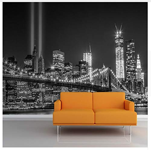 3D Wallpaper for Wall 3D Mural Greyscale Trade Centre Wall Mural Photo Wallpaper Famous City Building Backdrop for Living Room ()