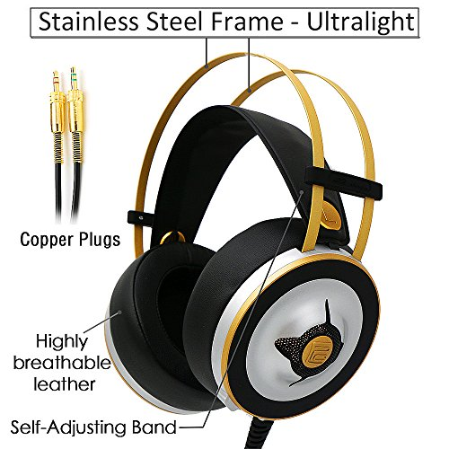 Silver Laptop Gaming (Markfive MK2 Light Comfortable Gaming Headset Hi-Fi Over-Ear Headphones Stereo Headphone Silver Colour with Volume Control Internal Mic and Adjustable Headband for PC Laptop Xbox PS4)