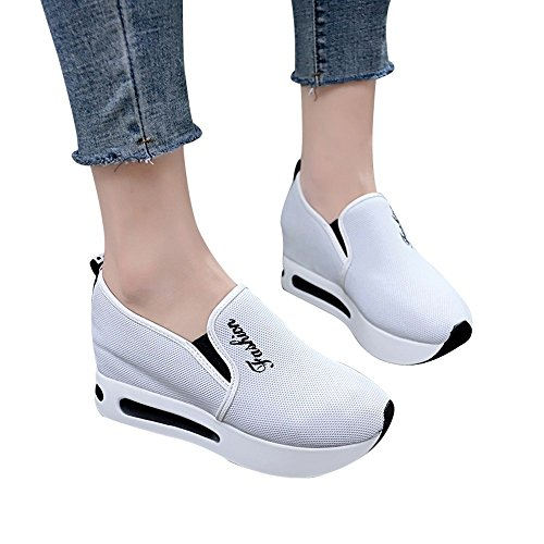 Shoes For Womens -Clearance Sale ,Farjing Women Casual Net Shoe Breathable Mesh Slope Thick Platform Shoes(US:7.5,White ) by Farjing