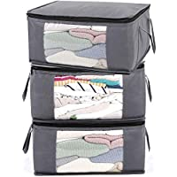 ABO Gear Storage Bins Storage Bags Closet Organizers Sweater Storage Clothes Storage Containers, 3pc Pack, Gray (G01)