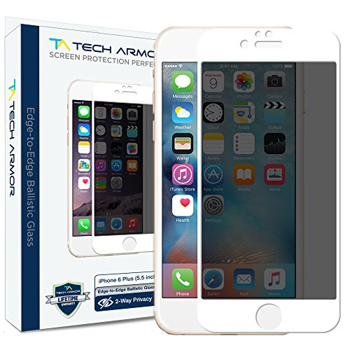 iPhone 6 Plus Screen Protector, Tech Armor Privacy Edge to Edge Glass Apple iPhone 6S Plus / iPhone 6 Plus (5.5-inch) Screen Protectors (White) - To In Glass Scratches Hide How