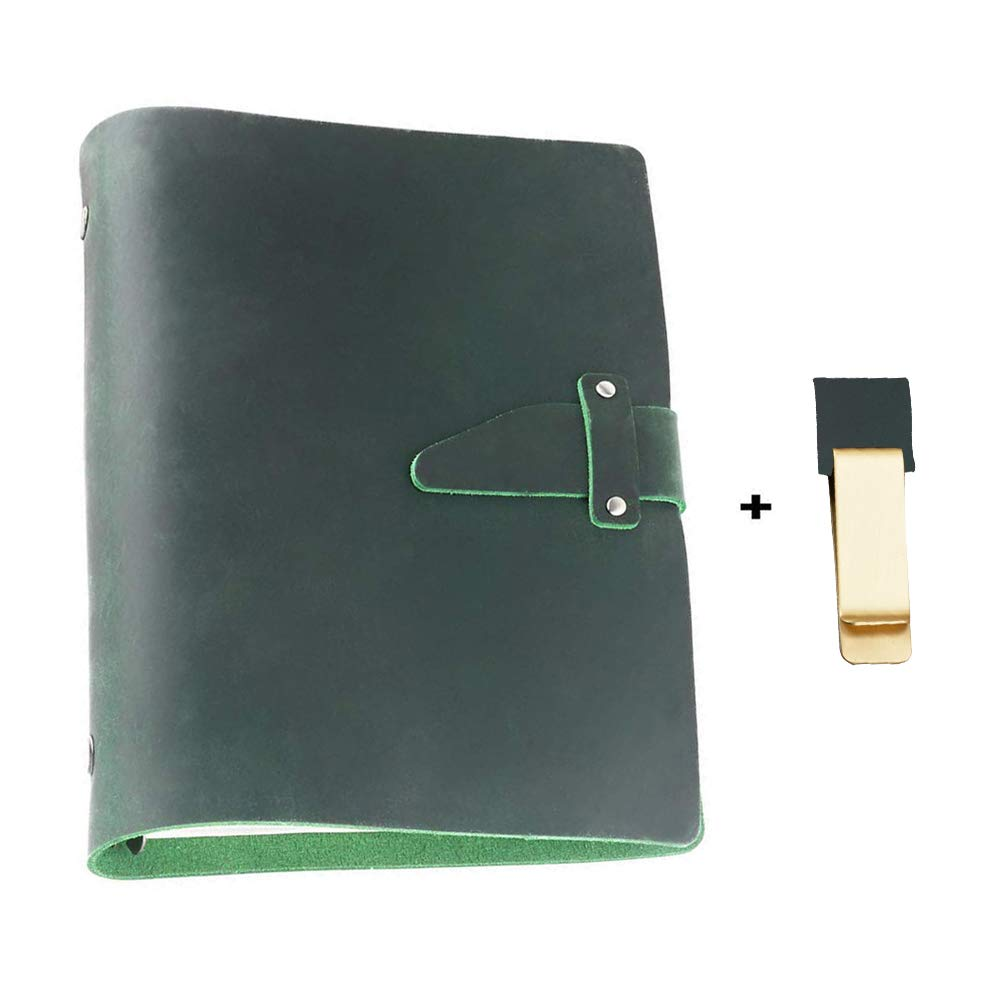 Genuine Leather Notebook Journal - Premium Quality Ages Beautifully - Crazy Horse Leather - Perfect Gift for Travel Diary,Creative Writing & Art Sketchbook to Write in - 9.3 x 6.7 inch (Green) by Daptsy