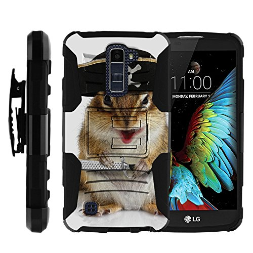 - MINITURTLE Case Compatible w/LG Premier LTE |LG K10 Holster Case [Clip Armor] Rugged Cover with Built in Stand and Belt Clip Pirate Squirrel