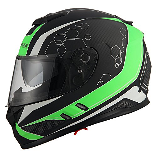 Triangle Motorcycle Street Bike Dual Visor Helmets DOT Approved (Matte Green, ()