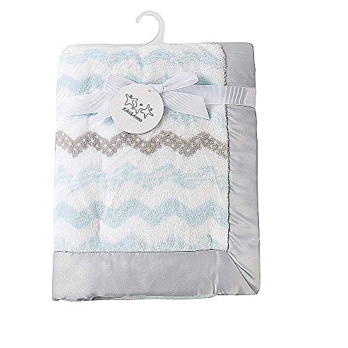 Kiki & Anna Baby Fleece Blanket Soft Plush Two Layer Blanket with Satin Trim for Girls Boys,Blue Printed Color 30