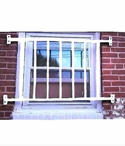 SURYA Window Security Guard Steel Bars, White. Size: 44*48