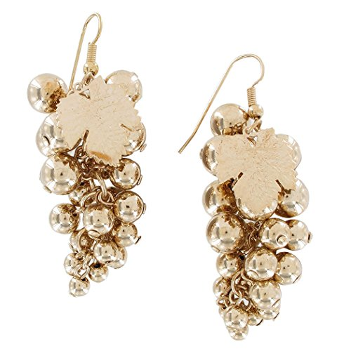 Kinetic Gold Tone Grape Motif Cluster Beaded Statement Dangle Earrings 2 3/4