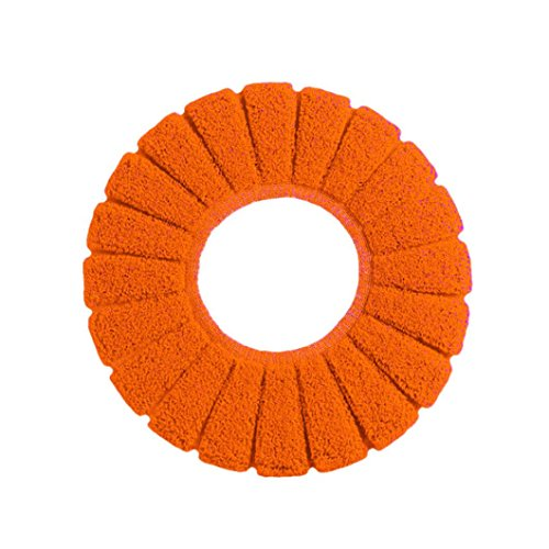 Oksale New Comfortable Velvet Coral Toilet Seat Cover for Standard Pumpkin Pattern Cushion, 360-Degree Ferrule Design, Suitable for Most of The Family O-U-Type Toilet (Orange) - Serendipity Coral