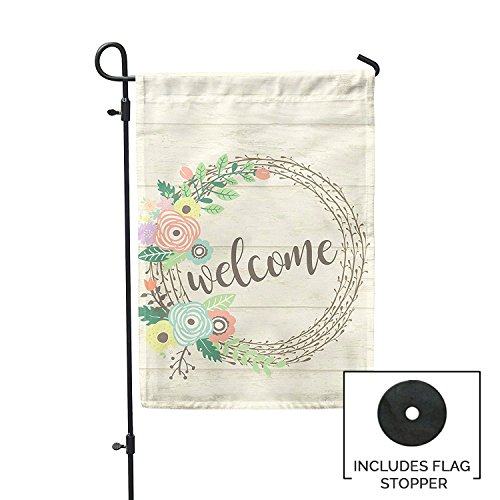 Second East Welcome Wreath Garden Flag Outdoor Patio Seasona