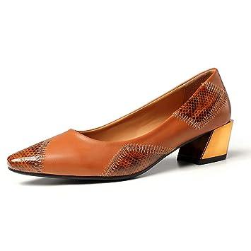 Mocasines De TacóN Alto Ocasionales Costura De La Parte Inferior Plana con Zapatos De Mujer Boca