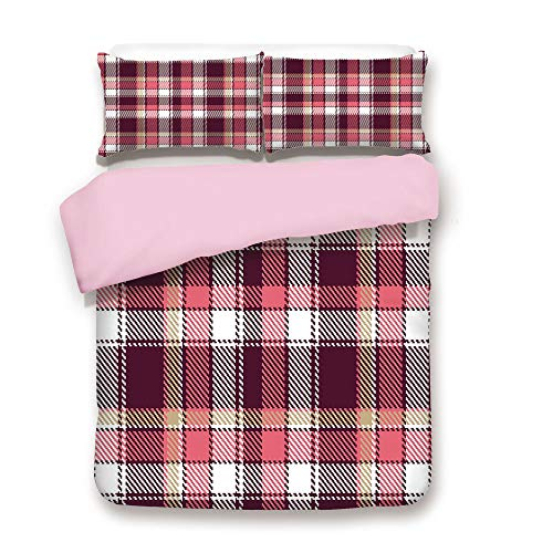 Pink Duvet Cover Set,Twin Size,Old Fashioned Style Garment Pattern Traditional Plaid Geometric Squares Decorative,Decorative 3 Piece Bedding Set with 2 Pillow Sham,Best Gift For Girls Women,Pink Maroo