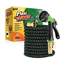 Flexi Hose Lightweight Expandable Garden Hose   No-Kink Flexibility - Extra Strength with 3/4 Inch Solid Brass Fittings & Double Latex Core   Rot, Crack, Leak Resistant (75 FT, Green/Black)