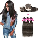 DSOAR Brazilian Straight Hair 3 Bundles With a Free Part Lace Closure 100% Unprocessed Virgin Human Hair Weave Bundles Natural Color(12''14''16''with 10'')
