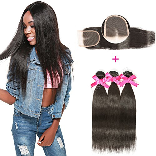DSOAR Brazilian Straight Hair 3 Bundles With a Free Part Lace Closure 100% Unprocessed Virgin Human Hair Weave Bundles Natural Color(12''14''16''with 10'') by DSOAR