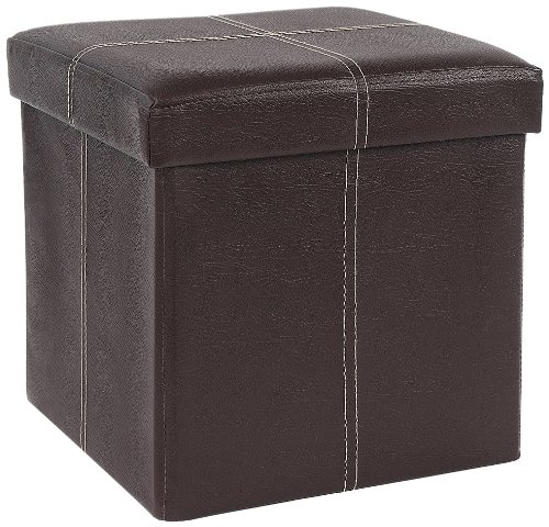 FHE Group Folding Storage Ottoman, 12 by 12 by 12 Inches, Brown by The FHE Group