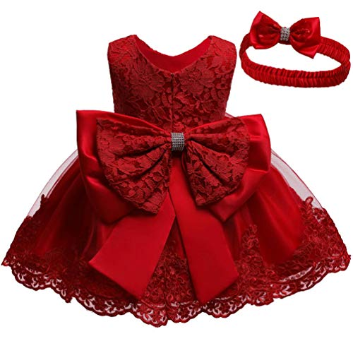 KILO&METERS Formal Prom Summer Wedding Girls Dresses A-line Sleeveless Knee Length Tutu Ruffle Kids Dress Princess Christeing Birthday Party Baby Dress 12M Dark red -