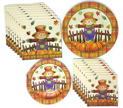 Fall Harvest Plates Napkins Party Supplies, Bundle of 4 (Fall Plates)