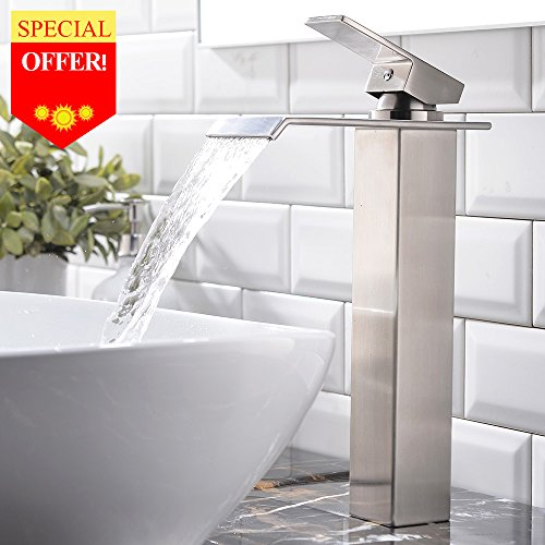 Cheap  VESLA HOME Contemporary Brushed Nickel Single Handle Tall Body Waterfall Bathroom Sink..